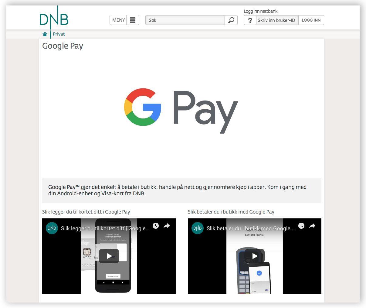 DNB avslører Google Pay på egne sider. (Skjermdump dnb.no)