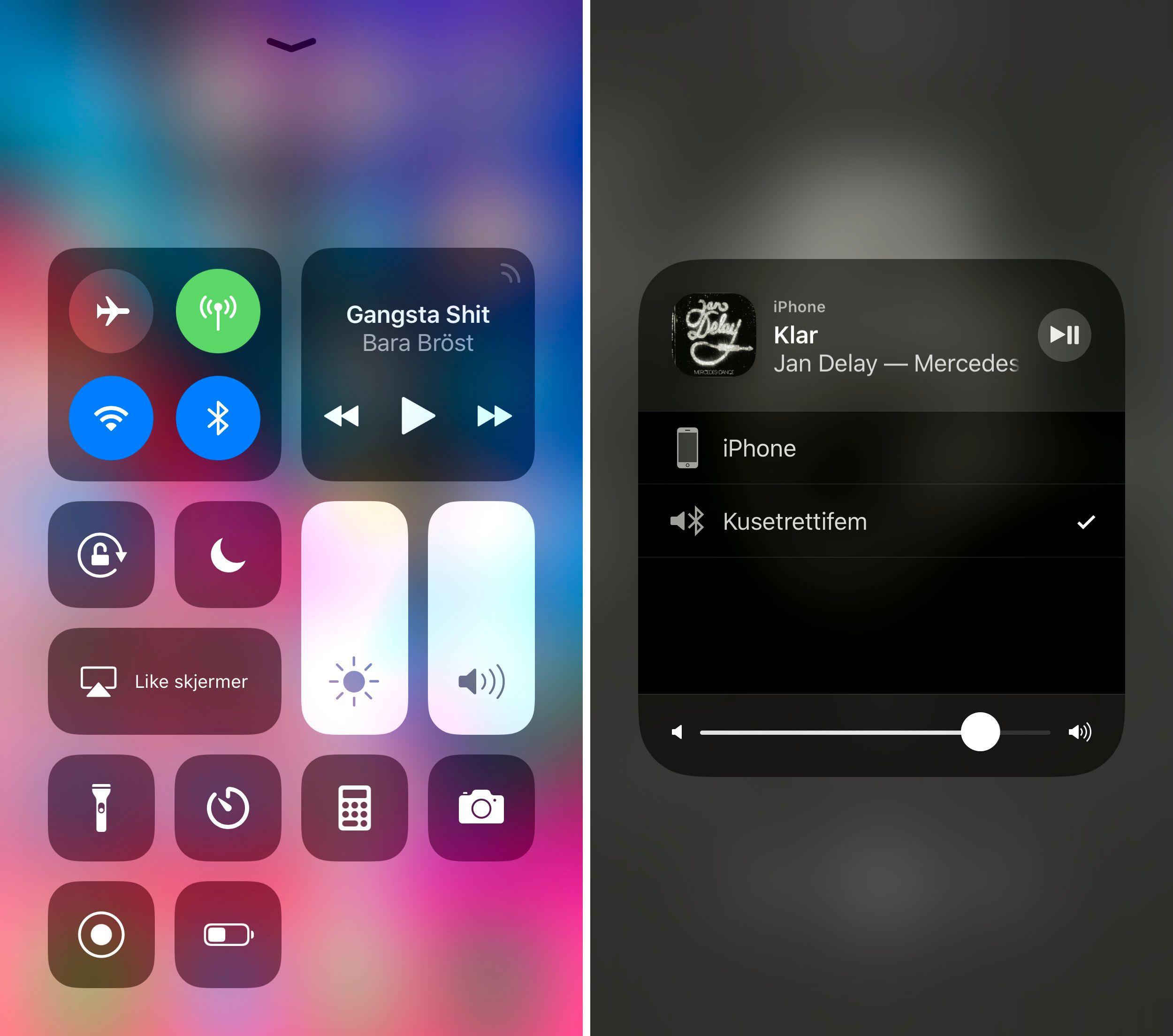 Nye iOS 11 har et kontrollsenter som du kan tilpasse selv. Det gir rask tilgang på nyttige funksjoner, og trinnløs justering av lys og volum.