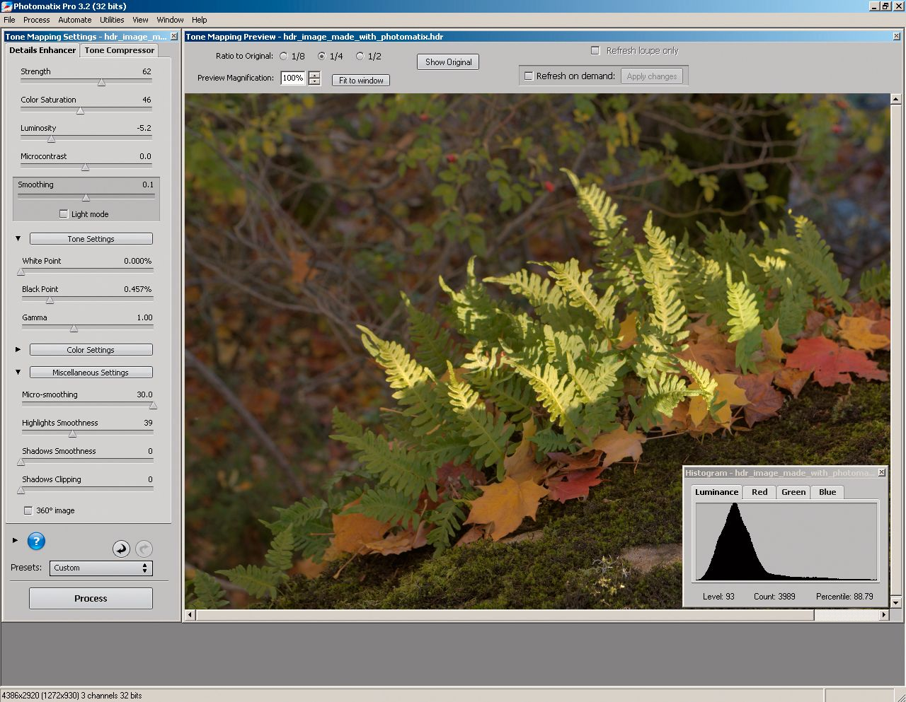 Tonemapping med Photomatix' Details Enhancer.