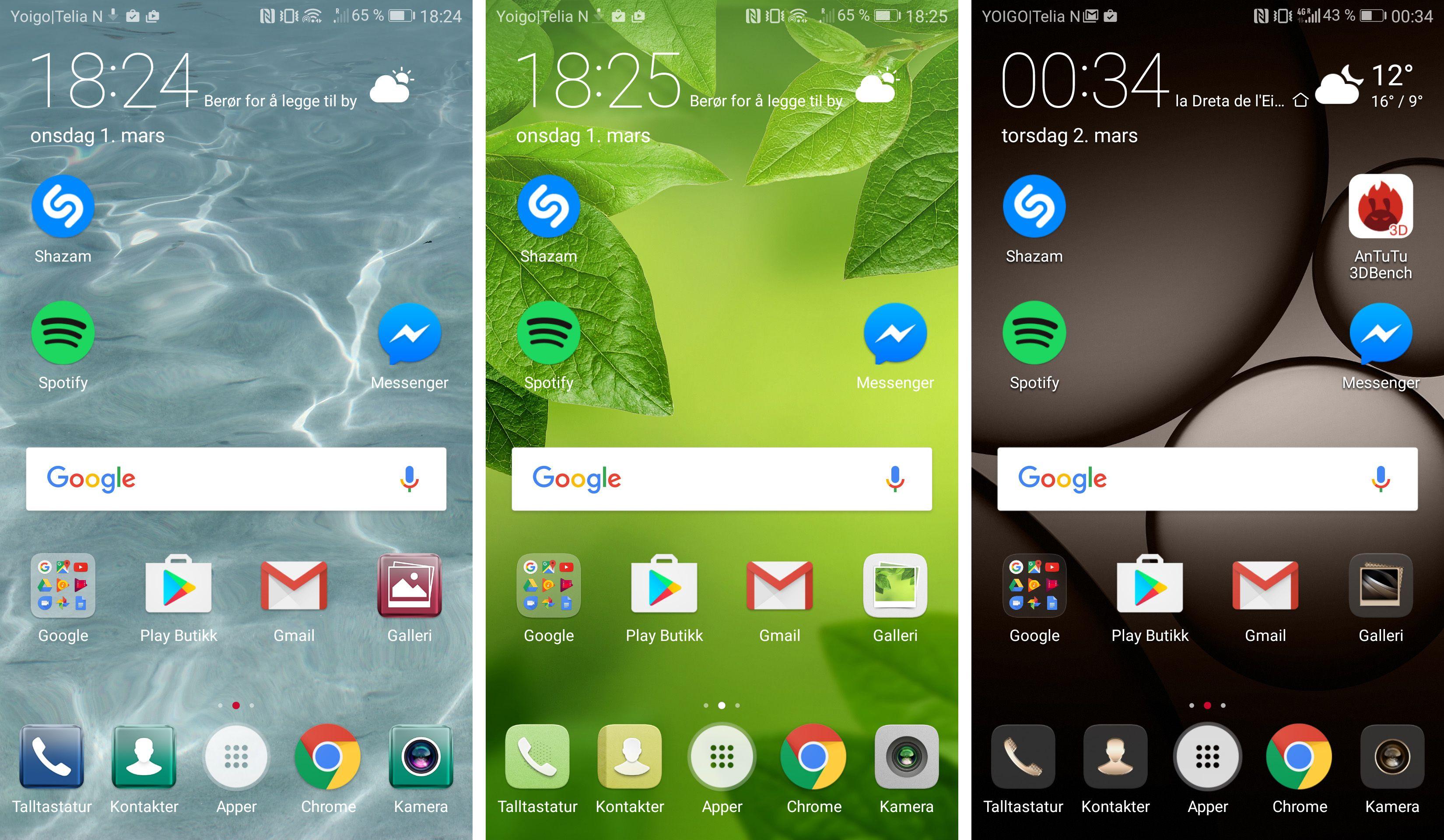 Huawei virker å ha forvalgt tema etter farge på telefonen. Den sølvgrå varianten jeg har testet ble levert med temaet lengst til venstre. Antakeligvis ett av de styggeste jeg har sett. Heldigvis er det mange fine å velge mellom.