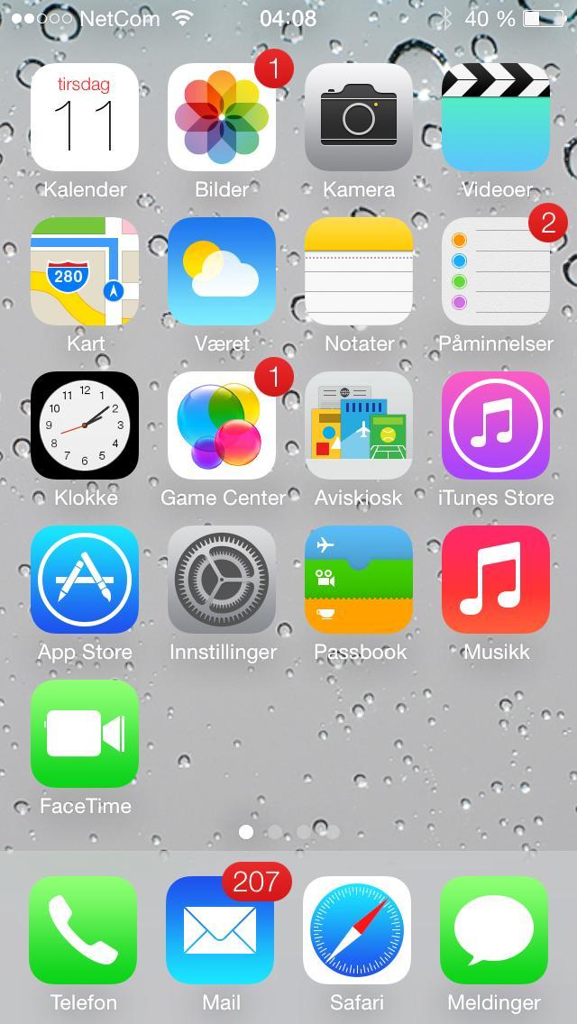Slik ser app-menyen i nye iOS 7 ut.Foto: Finn Jarle Kvalheim, Amobil.no