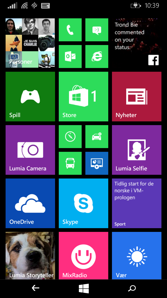 Hjemmeskjermen ser slik ut i dag, men vil i løpet av noen måneder bli erstattet av en litt oppfrisket variant i Windows 10. Foto: Finn Jarle Kvalheim, Tek.no