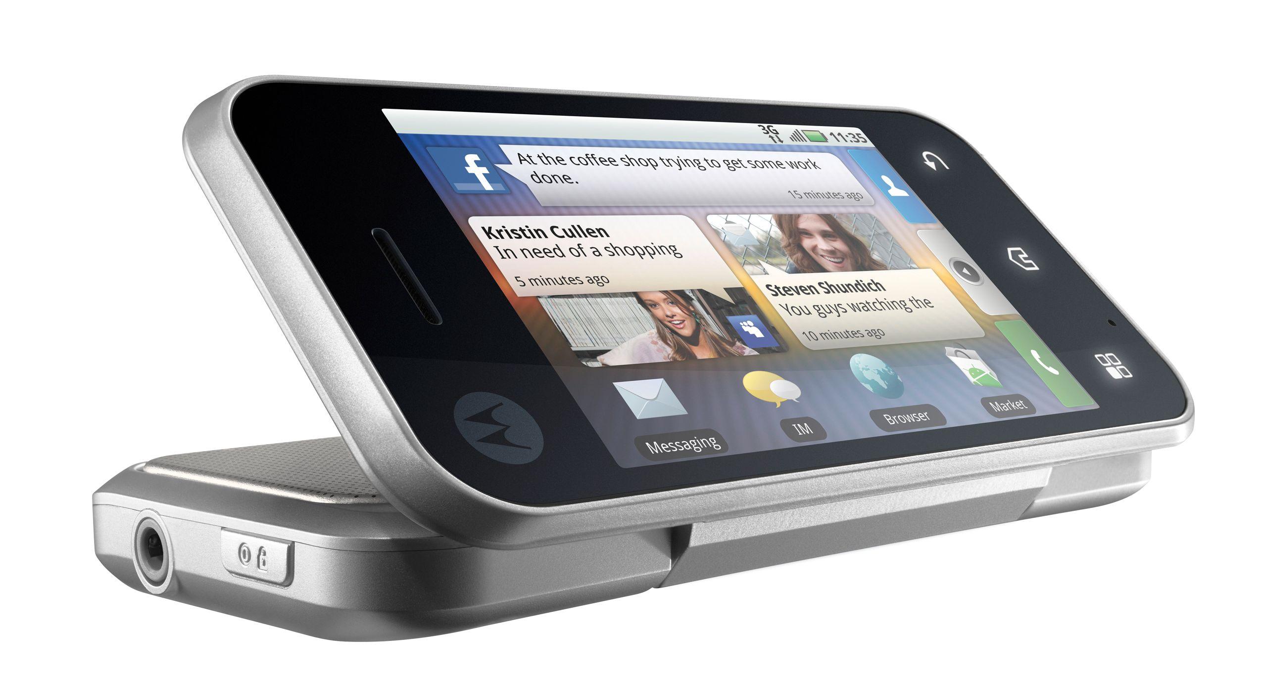 I stedet for stativ kan man brette telefonen delvis ut ved filmtitting eller videosamtale.