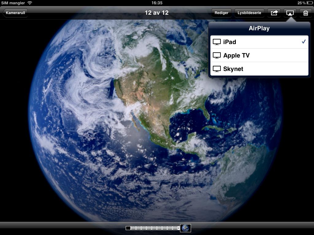 Uansett hvor du befinner deg i iOS finner du Airplay-logoen, for å overføre trådløst til TV-en.