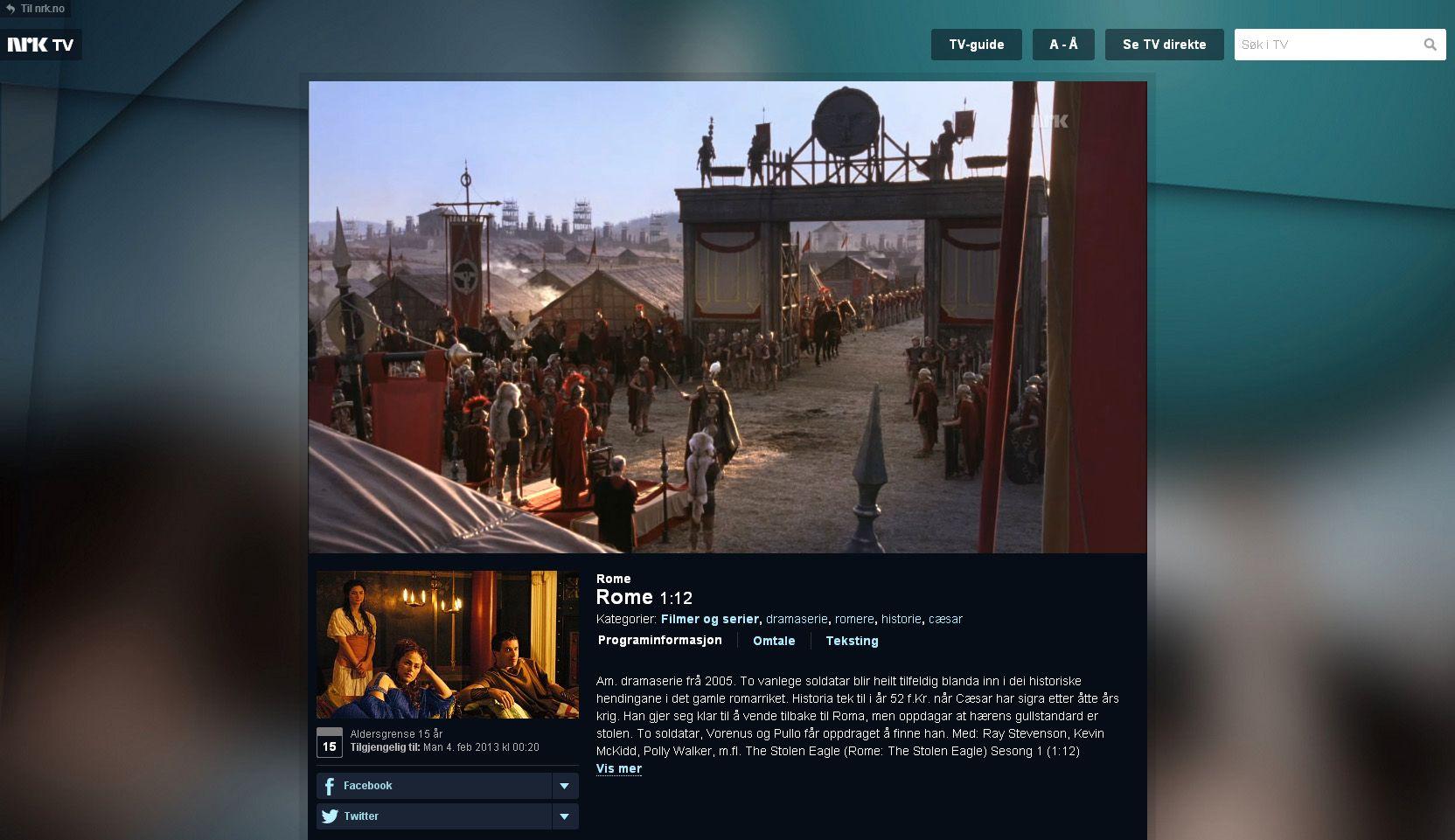Rome på NRKs nett-TV.Foto: HBO, BBC