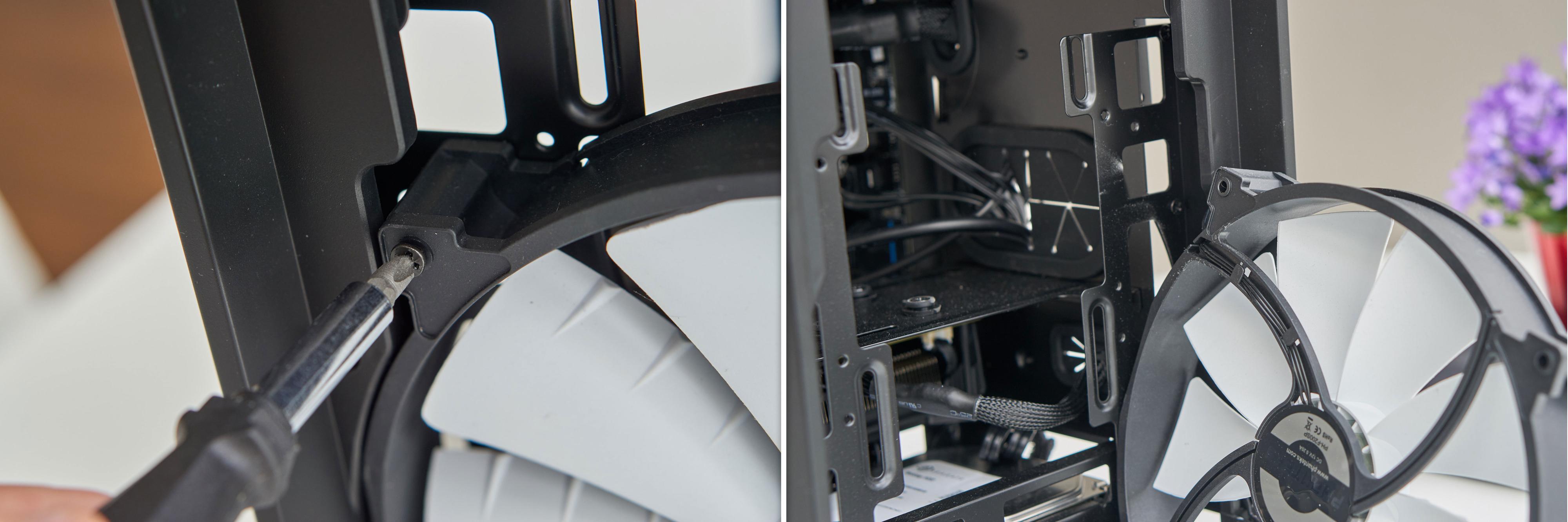 Hovedviften skrus enkelt ut, men strømkabelen er rutet et godt stykke bakover.
