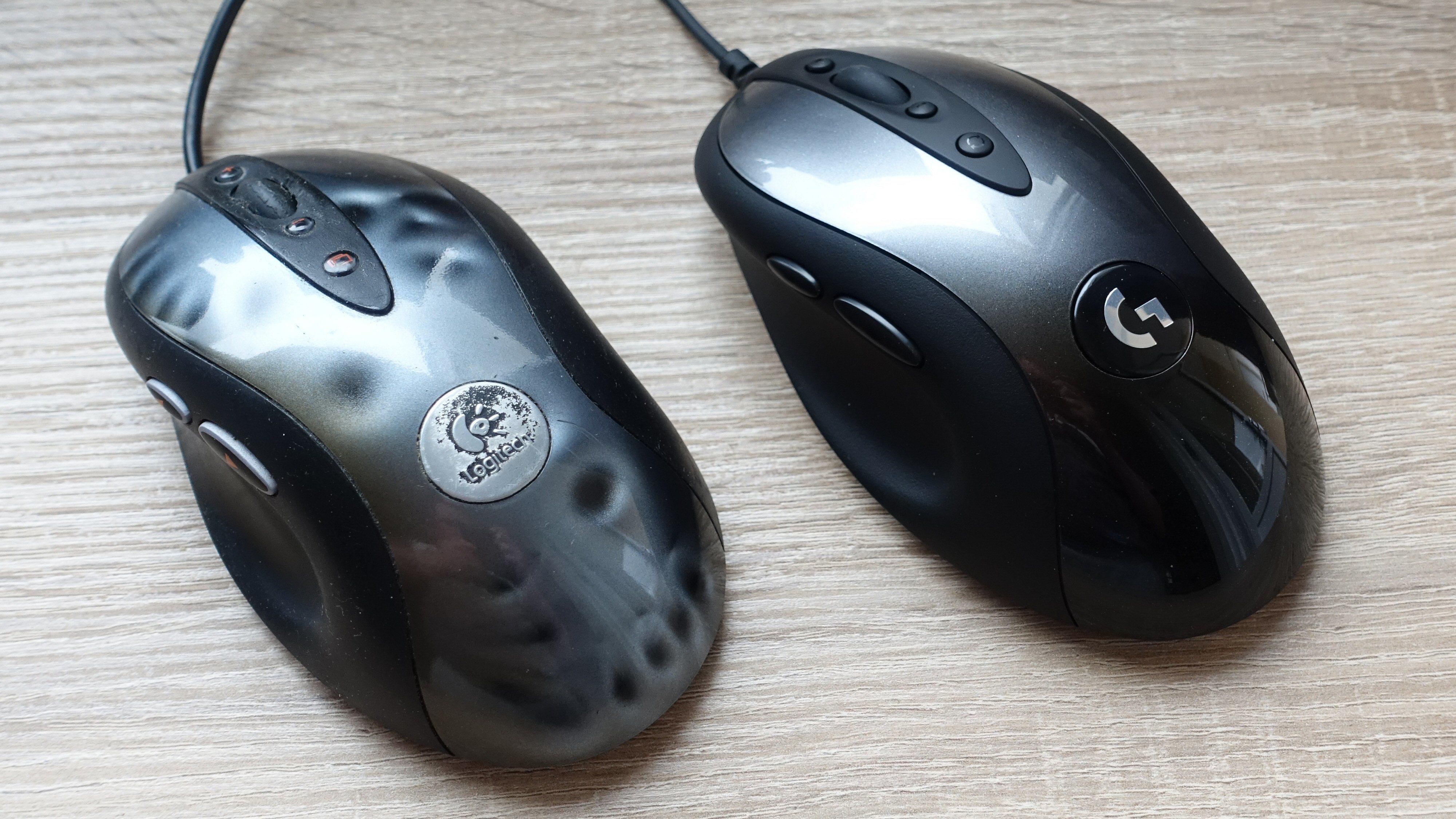 En litt sliten Logitech MX518 og en ny G MX518.