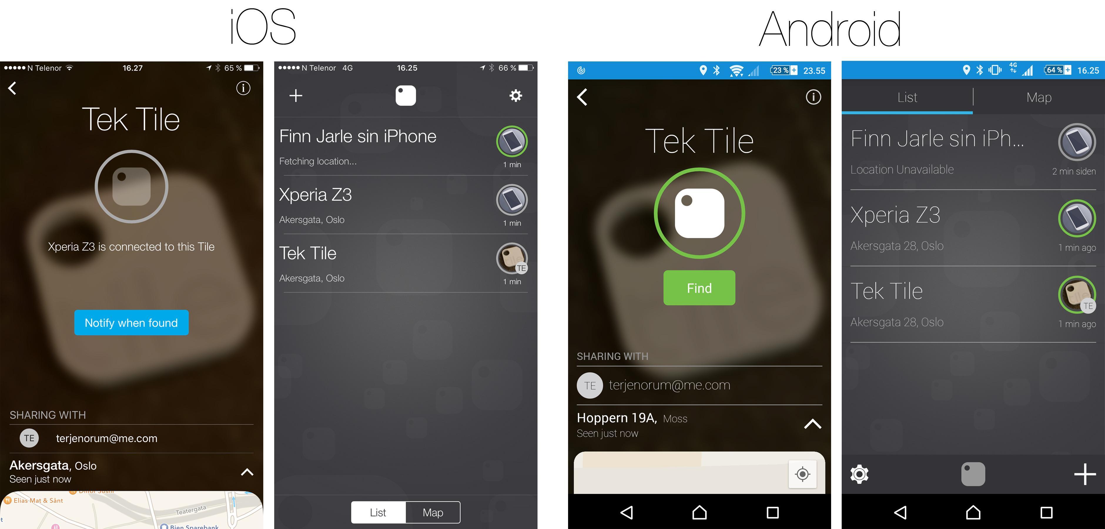 Oversikten over en brikke (til venstre i begge parene) og startsiden i appen (til høyre) er ganske lik i Android og iOS-versjon. I bildet helt til venstre ser du feilmeldingen som kommer hvis en annen telefon bruker brikken med samme konto.