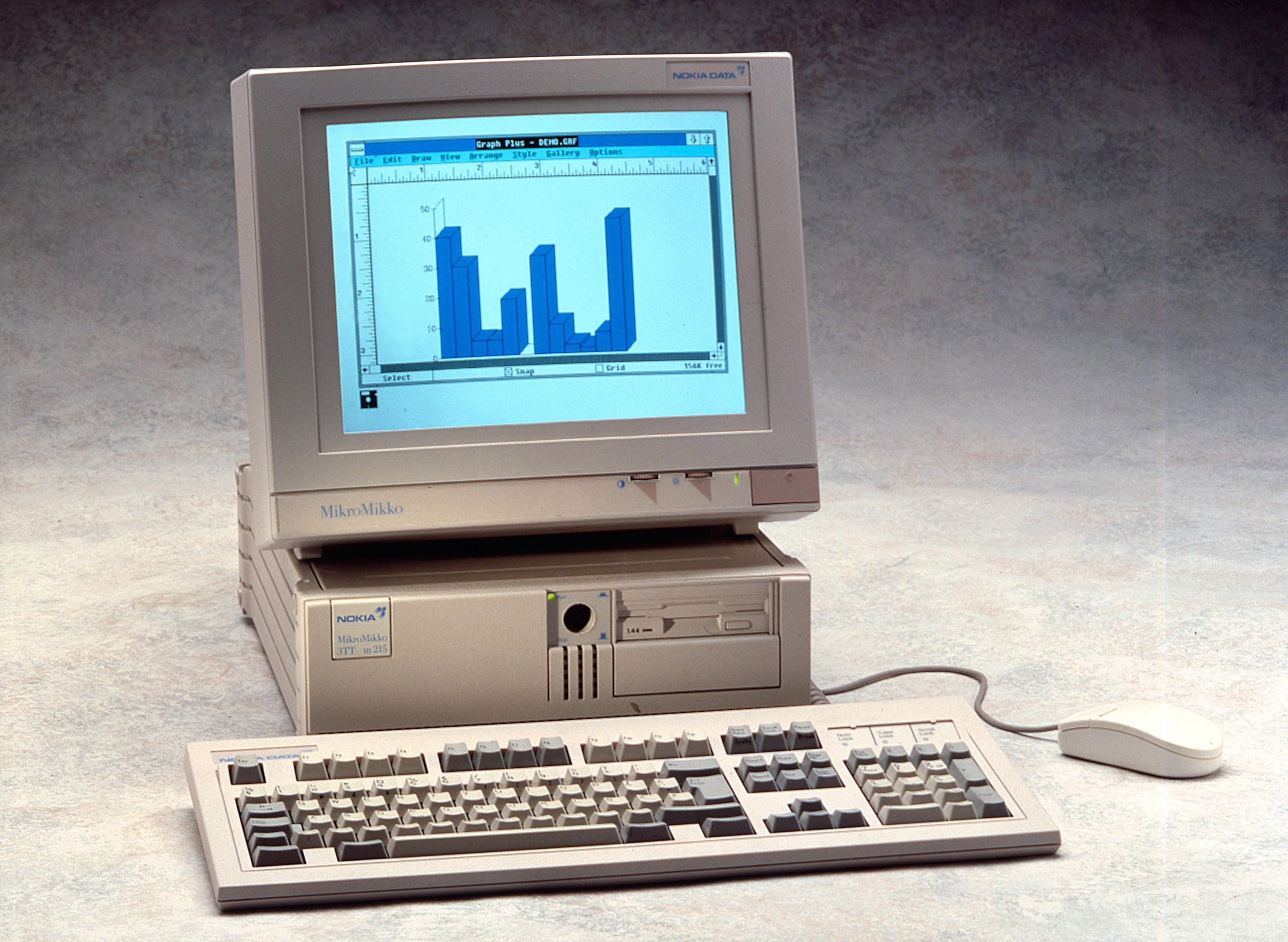 Nokia har også laget PC-er. Dette er en Nokia MikroMikko 3 TT m215 fra slutten av 80-tallet.