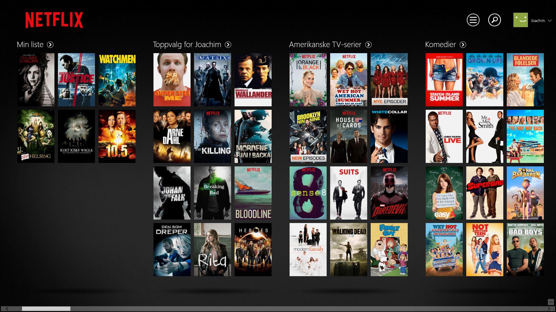 Netflix-appen på Windows.