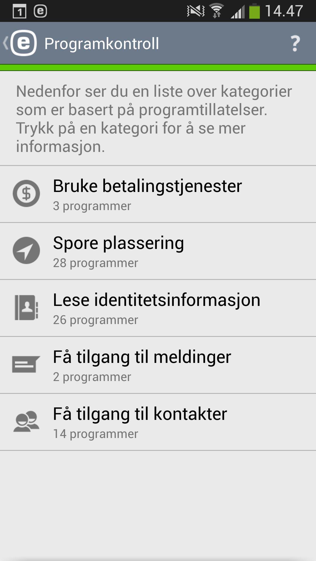 Appen gir deg god oversikt over hva de ulike appene har tilgang til.