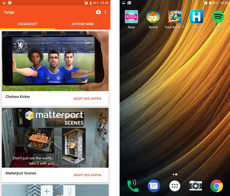 Tango-appene finner man gjennom en egen liten portal som ligger på telefonen. Den gjør i grunnen ikke stort mer enn å lede deg til titler i Google Play.