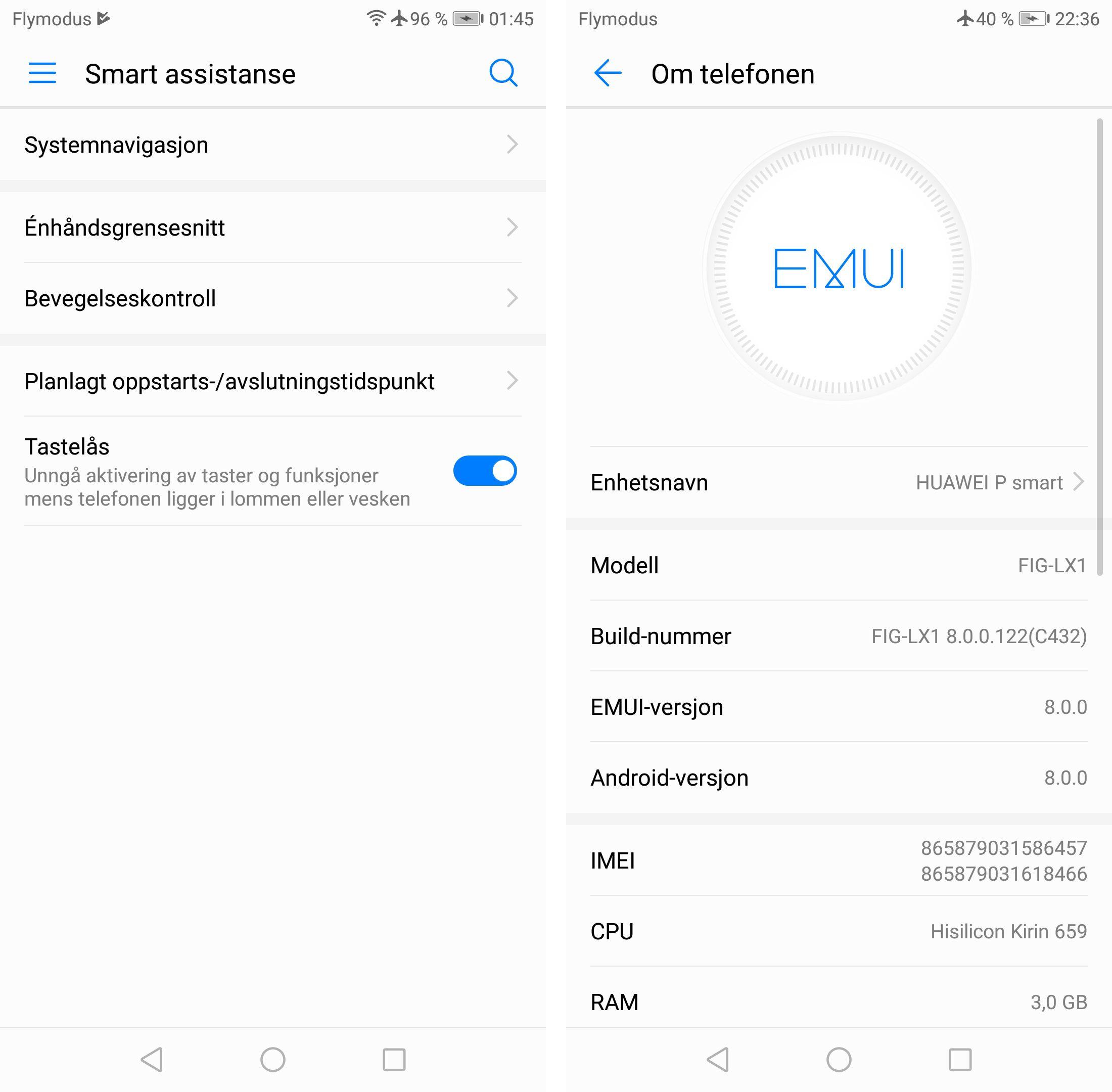 Rimelige telefoner med Android 8 er det ikke fryktelig mange av, så her skårer P Smart sterkt. Det skal likevel sies at siste sikkerhetsoppdatering er fra desember. Funksjonsmessig er det litt mer sparsomt her enn på dyrere Huawei-modeller, men den smarte timer-funksjonen for av- og påslåing er likevel med.