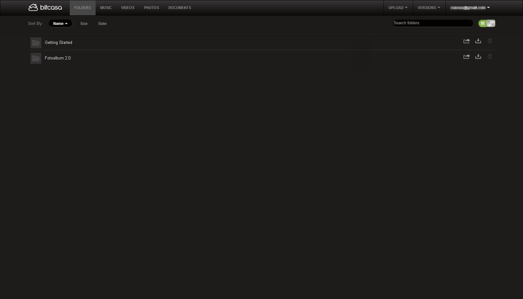 Slik ser Bitcasas nettapplikasjon ut.Foto: Bitcasa