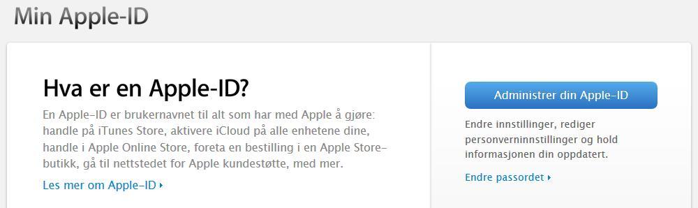 Klikk på Administrer din Apple-ID-knappen eller Endre passordet-lenken for å komme i gang.