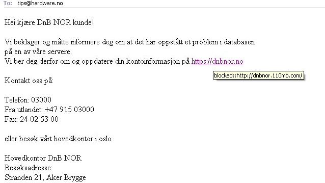 DnB NOR utsatt for phishing
