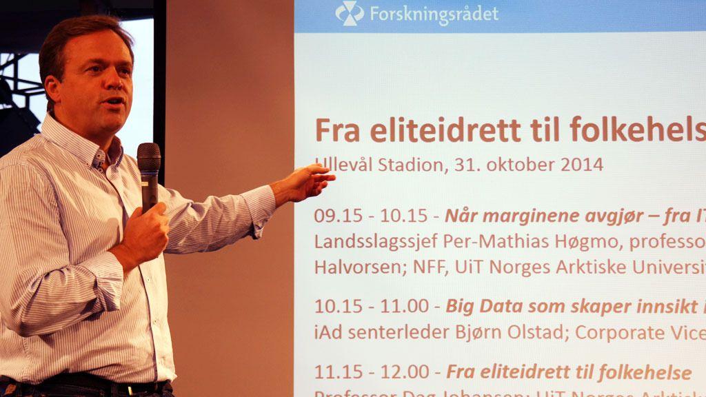 Bjørn Olstad, administrerende direktør i Microsoft Development Center Norway, er heftig og begeistret over mulighetene forskning på «big data» kan gi idrettsnorge. Med tiden vil det også også bidra til økt folkehelse.Foto: Espen Irwing Swang, Tek.no