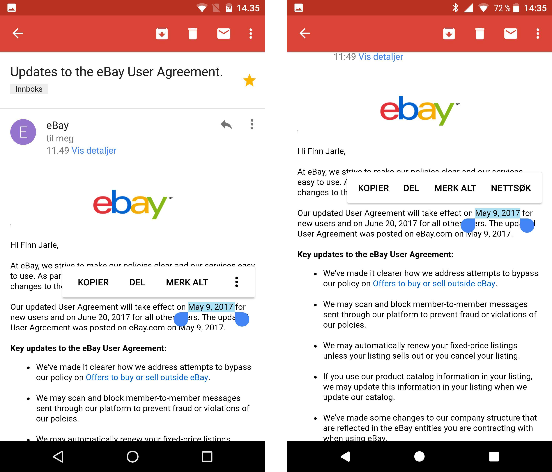Den nye smarte tekstvelgeren Google har annonsert skal la brukeren hoppe rett fra en merket dato til riktig sted i kalenderen. Men foreløpig er det den gamle løsningen du ser i bildet til venstre (Nexus 6 m. Android 7) som går igjen på Pixel XL med Android O til høyre. Bilde: Finn Jarle Kvalheim, Tek.no