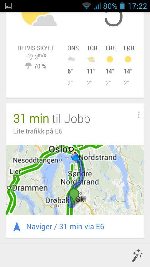 Dette skjermskuddet viser applikasjonen Google Nå som følger med i nyere Android-mobiler, og ikke selve launcheren.