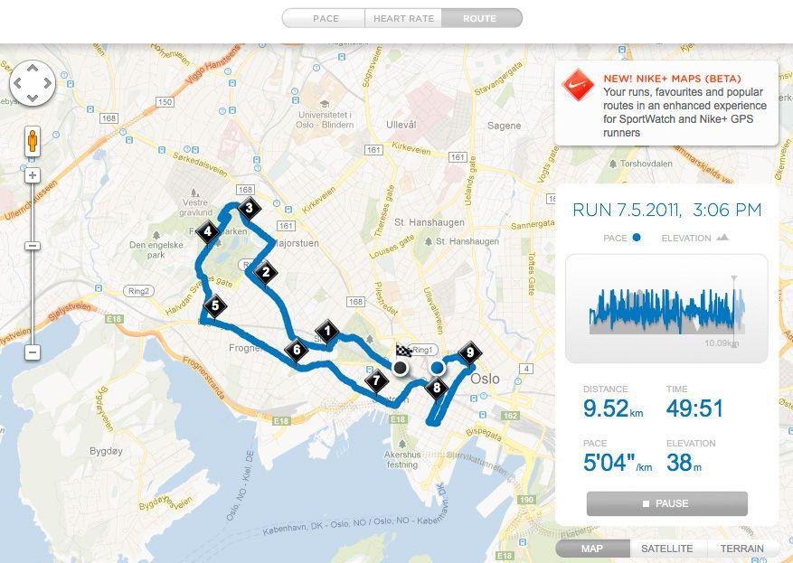 På Nike+ kan du se løpeturen din på et kart, og sammenligne dine egne prestasjoner med andres.