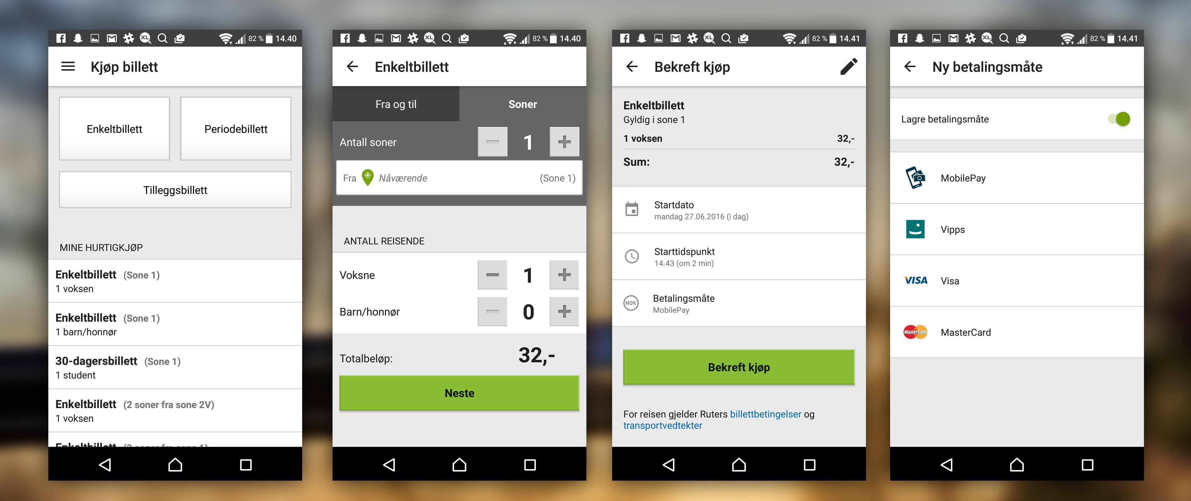 Slik velger du Mobile Pay i RuterBillett. Du tas videre til Mobile Pay-appen for å bekrefte kjøpet.