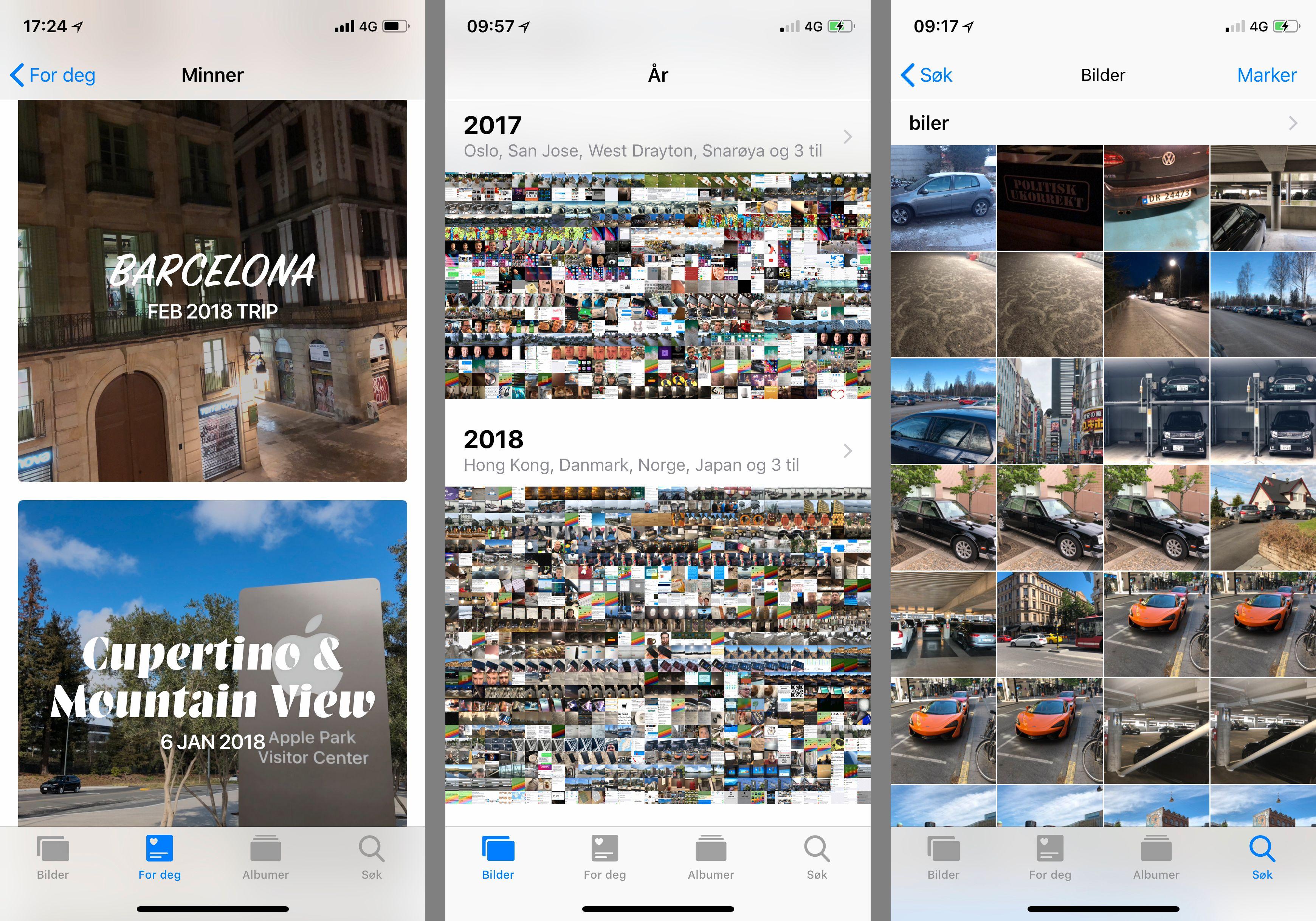 Bilder-appen har blitt oppdatert med en ny avdeling, men foreløpig ser ikke alle funksjonene ut til å være lette å få tak i. Det kan tenkes at telefonen trenger mer tid på å kategorisere bilder i bakgrunnen.