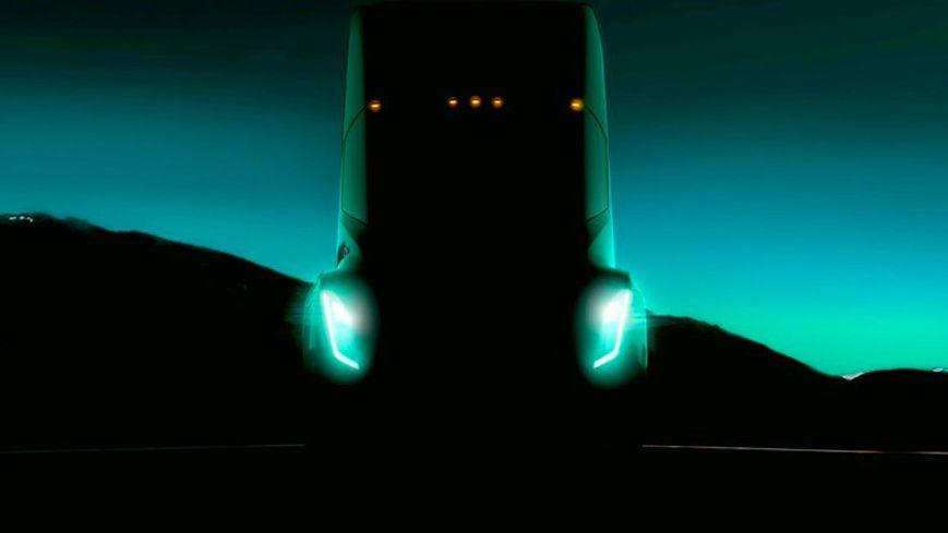 Slik ser Teslas eget teaserbilde for semitraileren ut.