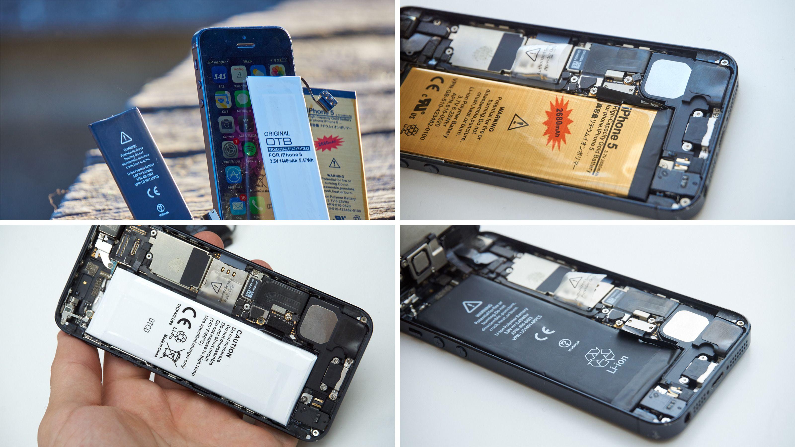 Her er alle de nye batteriene montert i telefonen, samt før montering med mobilen i live.