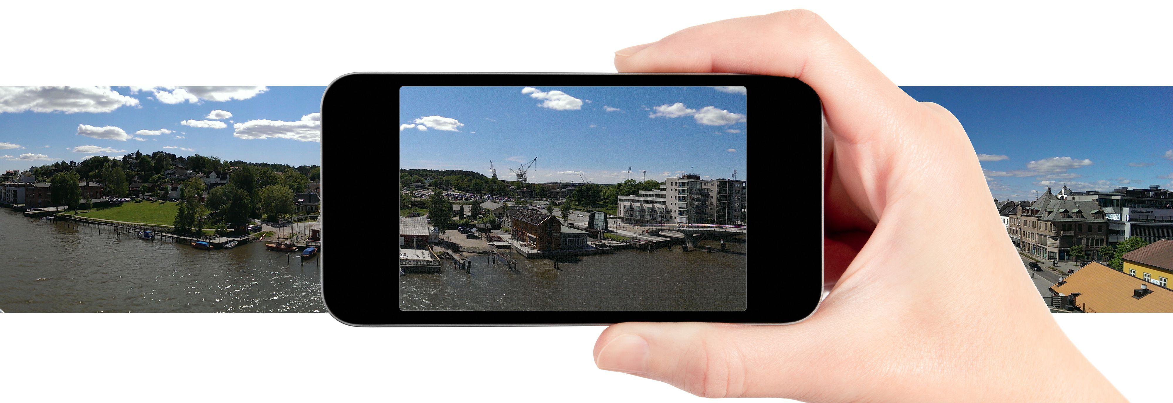 De fleste nyere mobiler har en panoramafunksjon. Har den ikke det, finnes det også panorama-apper du kan laste ned. Foto: Shutterstock / Kurt Lekanger / Montasje
