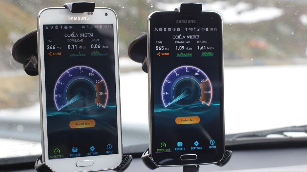 Hvit for NetCom, sort for Telenor. Ice ble målt ved hjelp av en Ice-ruter med ekstern antenne. Foto: Espen Irwing Swang, Amobil.no