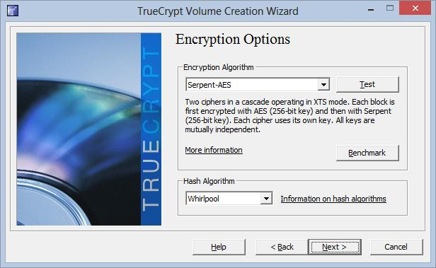 Du får også mulighet til å velge teknikken som skal brukes i krypteringen. For å beskytte deg mot tilfeldige snokere vil AES og RIPEMD holde i lange baner.
