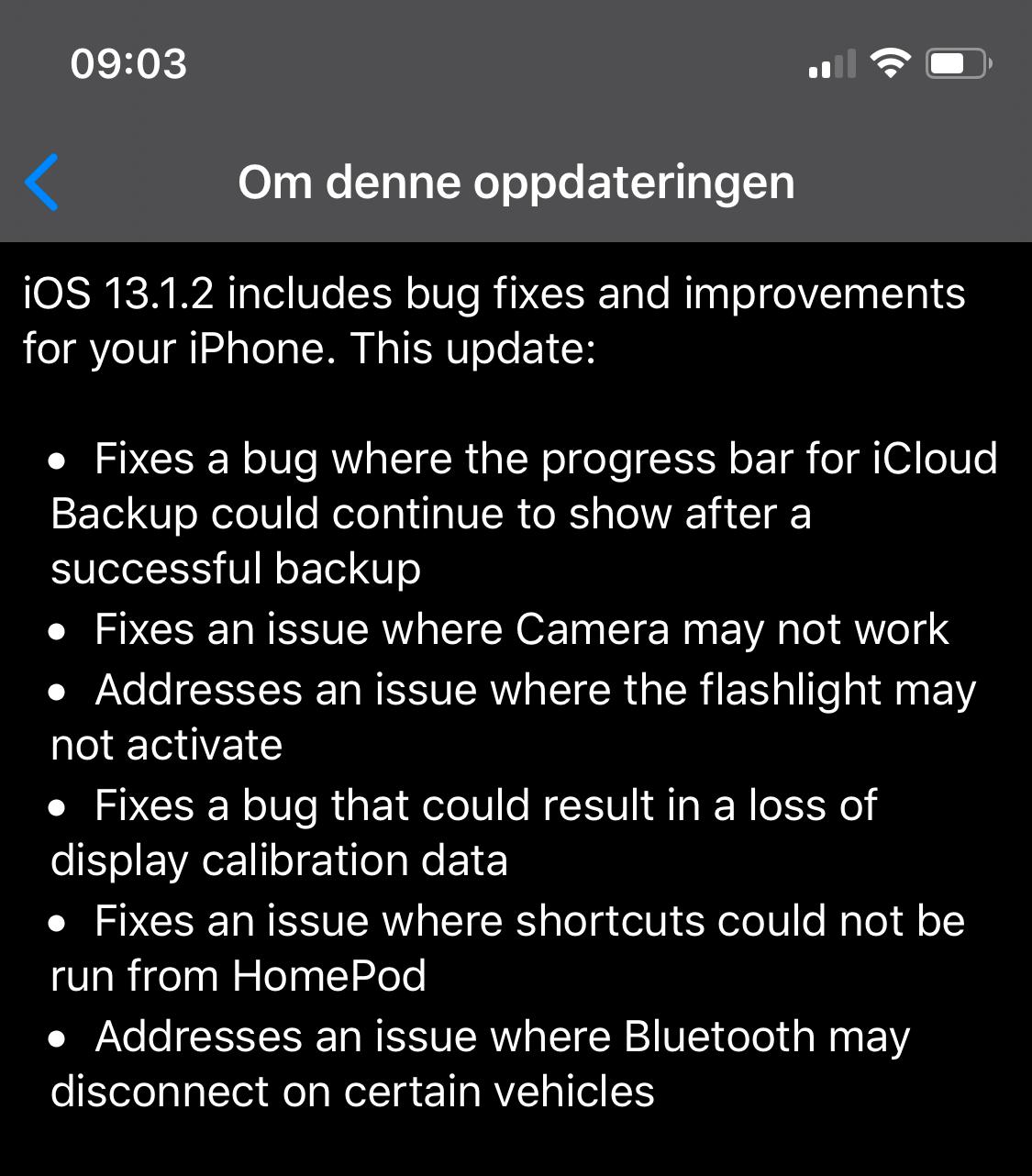 Disse feilene tas hånd om i 13.1.2-oppdateringen til iOS.