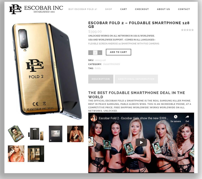 Slik markedsfører Escobar Inc sin Fold 2 på nettstedet sitt.