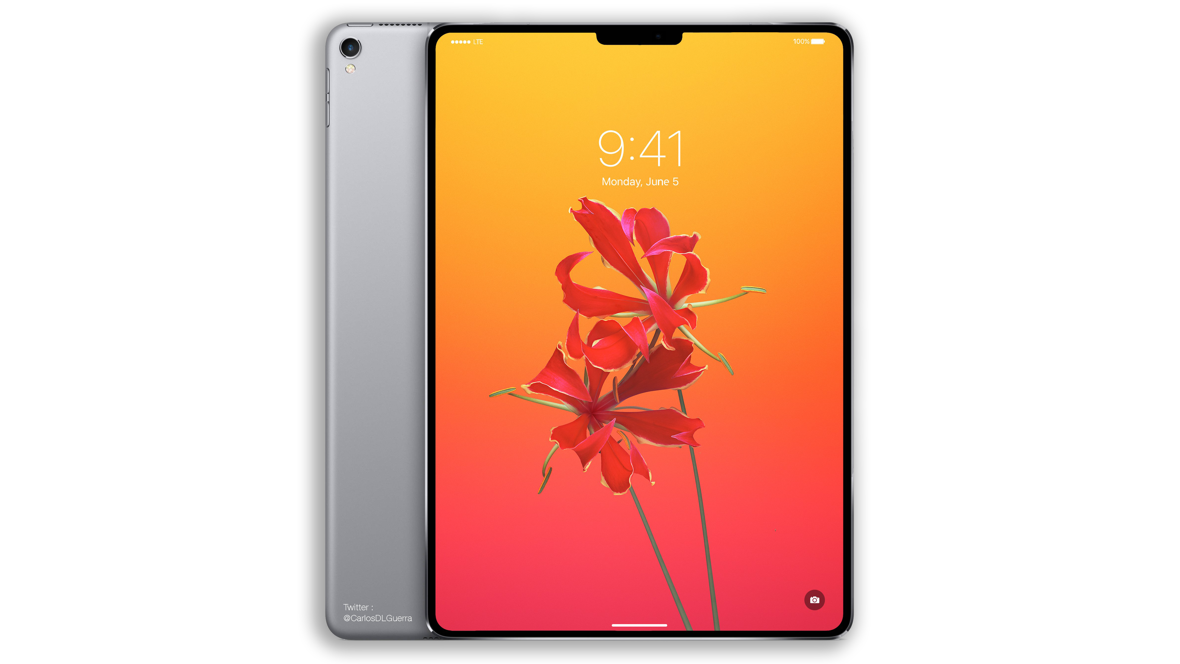 Slik har man sett for seg den nye iPad Pro-modellen så langt. Skjermhakket var med i illustrasjonen av iPhone X som dukket opp før lansering, så Apple har ikke for vane å skjule slike detaljer i grafikken sin.