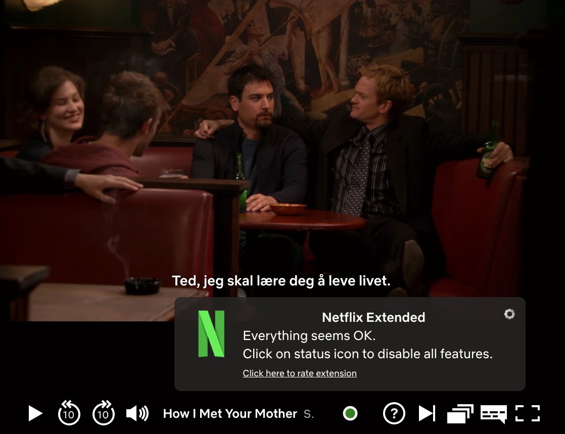 Nettlesertillegget legger seg pent sammen med de andre Netflix-kontrollene og gir deg tilgang til innstillingsmenyen (tannhjulet).