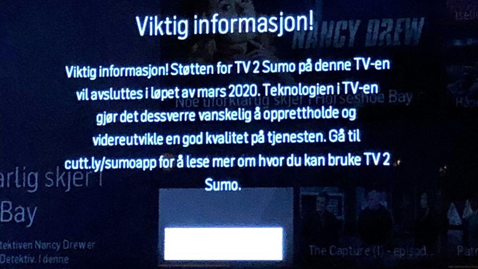 TV 2 Sumo slutter å fungere på gamle Samsung-TV-er