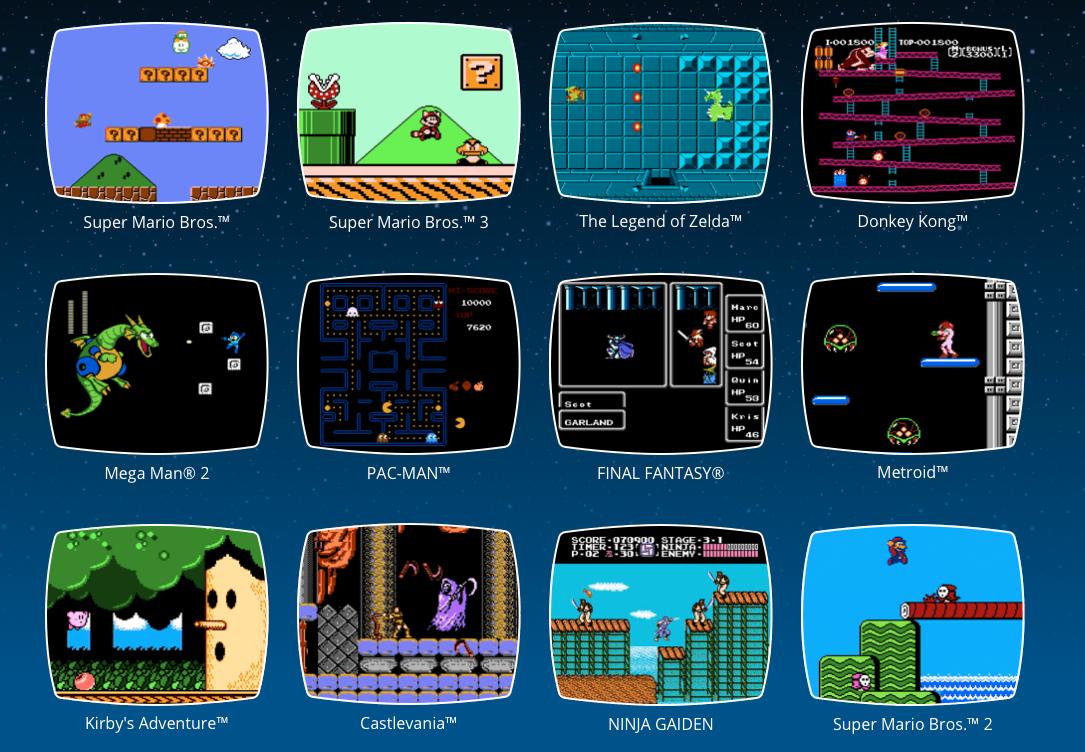 Noen av de 30 spillene NES Classic Mini byr på.