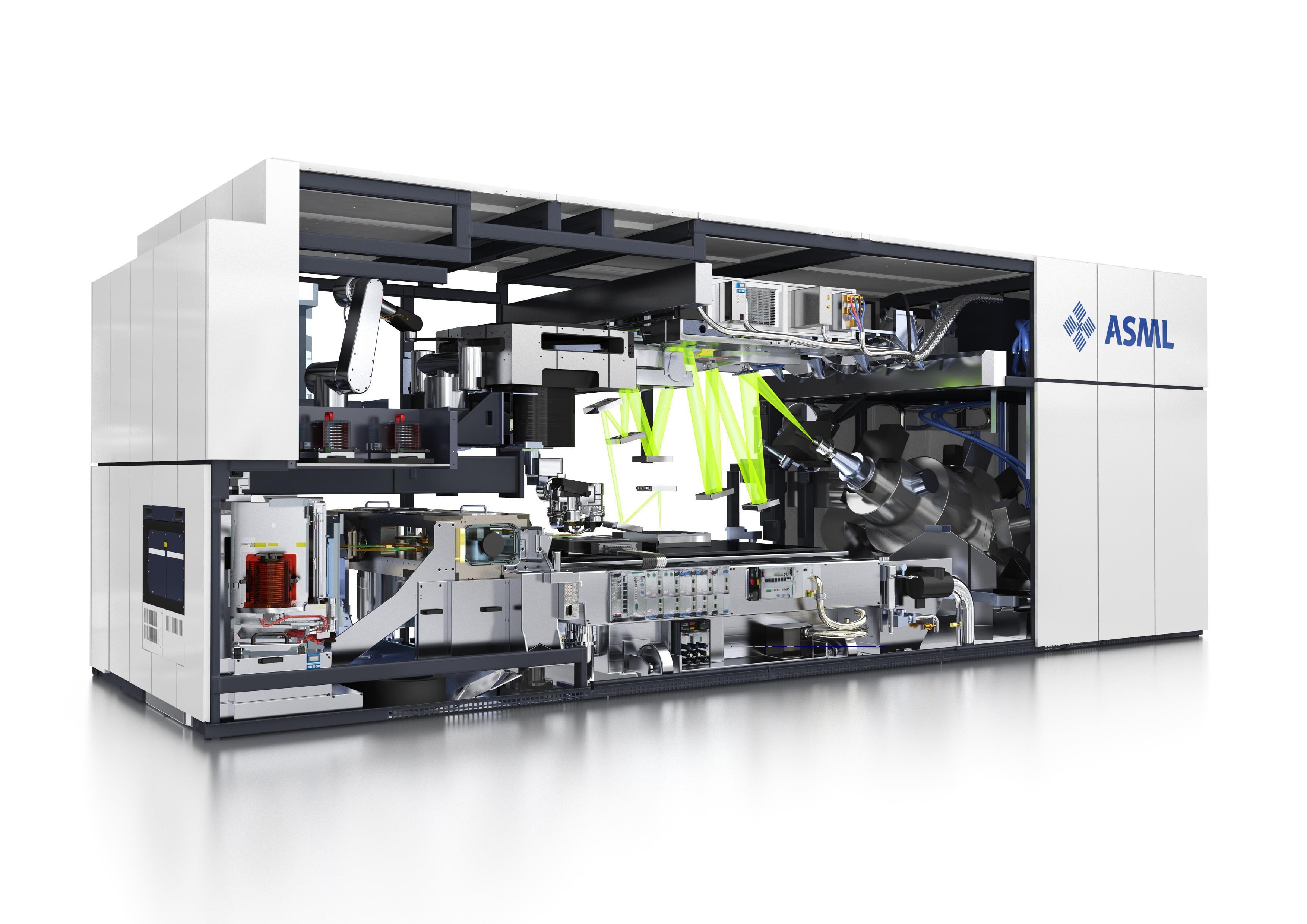 En av ASMLs fotolitografimaskiner, maskiner som tar unna prosessen der kretsen belyses.Foto: ASML