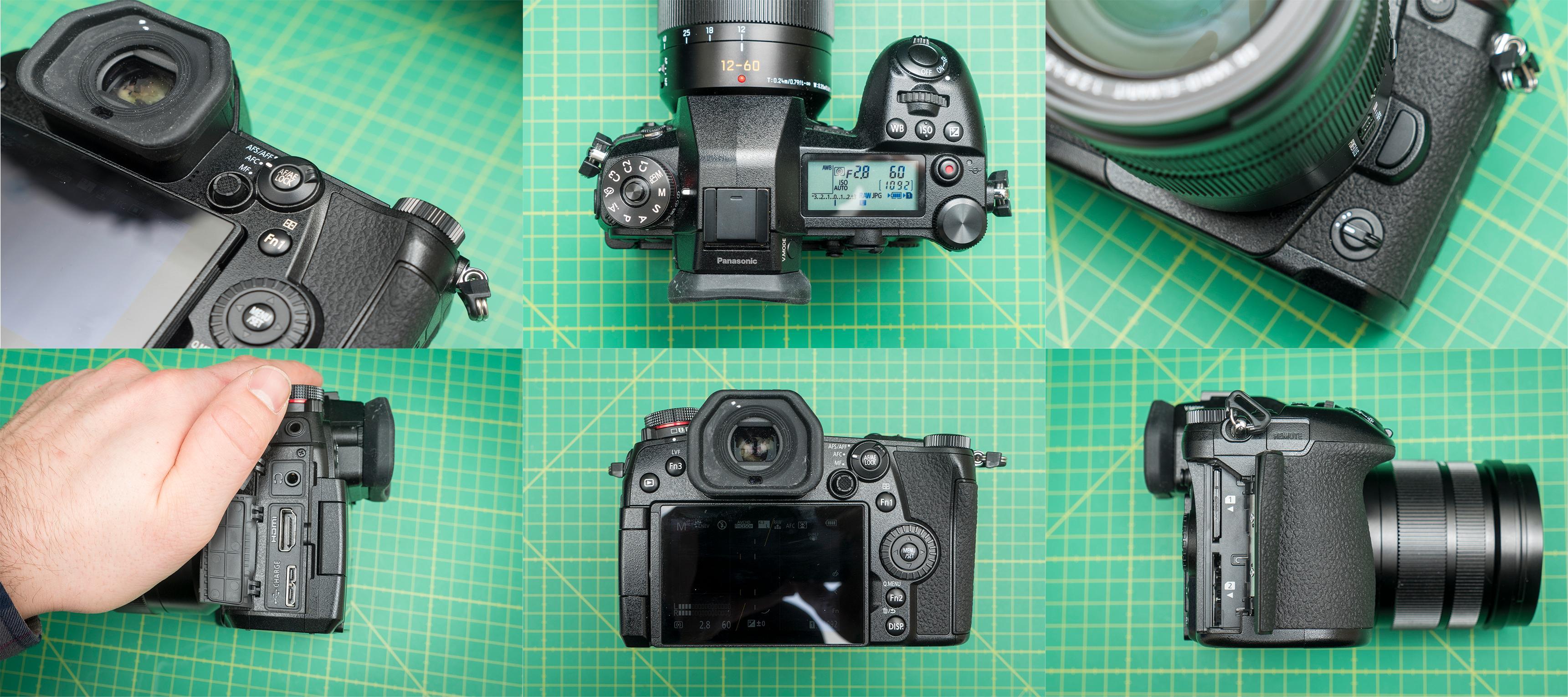 Masser av knapper, brytere, fokusspak, dobbel minnekortbrønn, port for HDMI, USB-3.0, minijack og mikrofon. Bilde: Kristoffer Møllevik