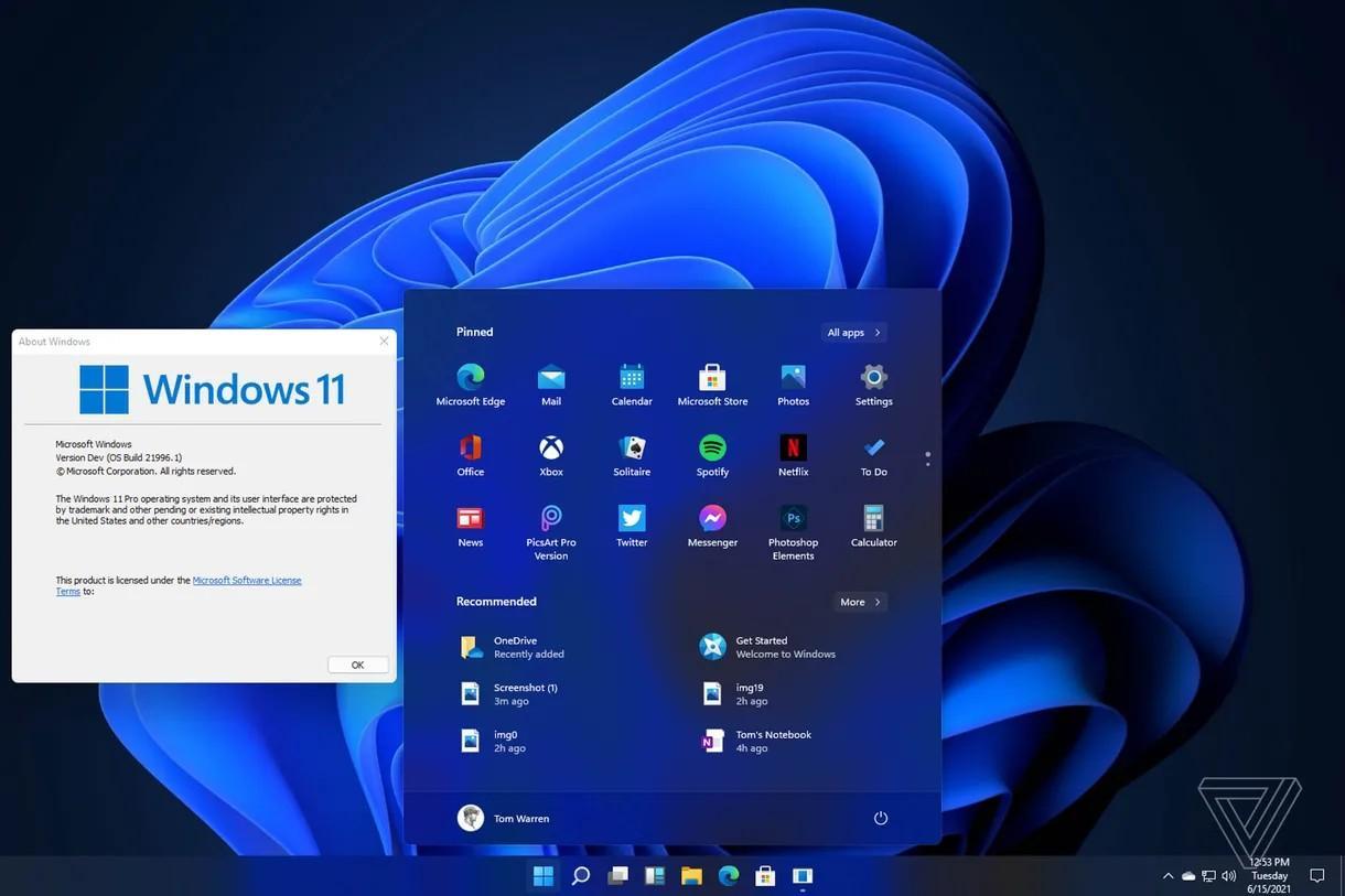 Slik skal den nye startmenyen se ut i nattmodus. Den kan også venstrestilles, slik at den minner om dagens, men uten de vanlige appflisene som Windows 10 starter med.