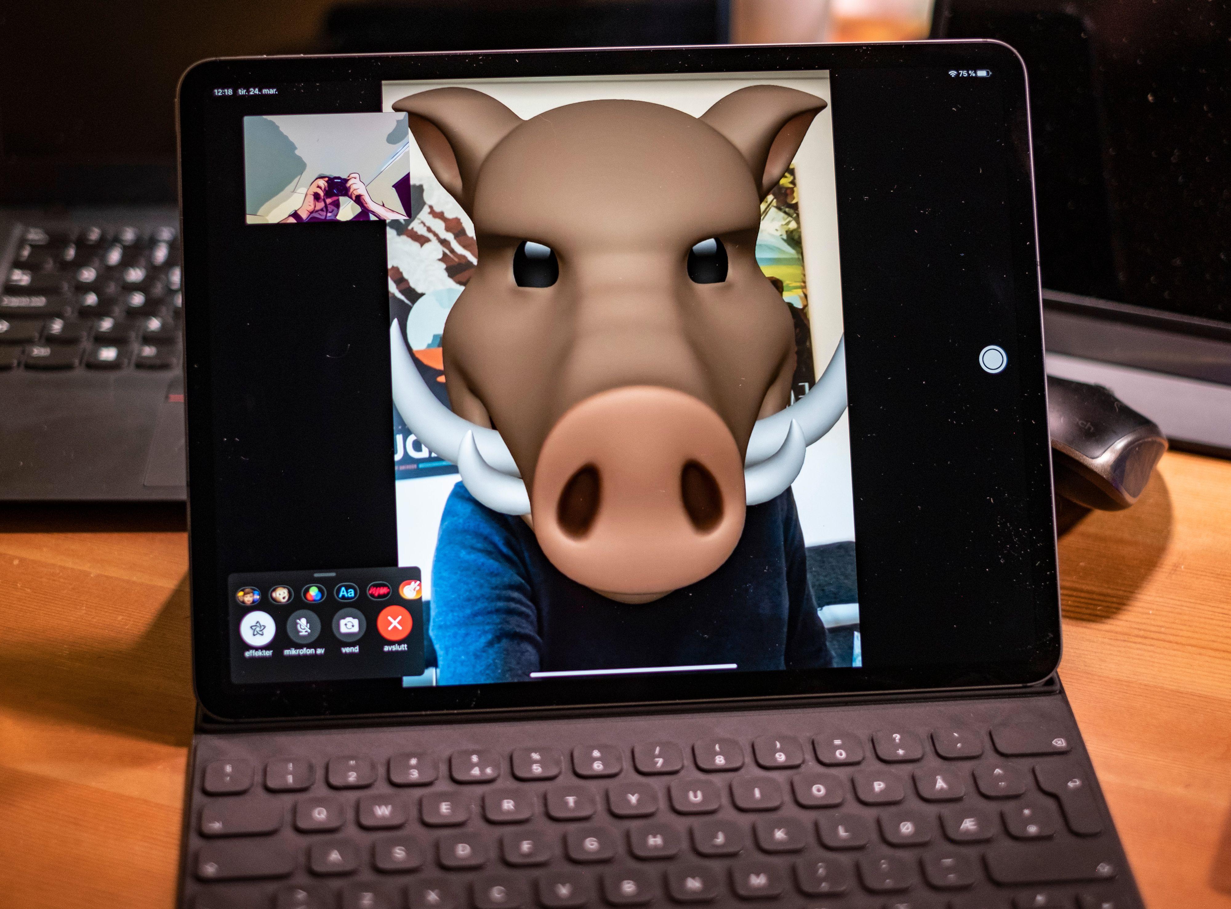 I disse hjemmekontortider er det jo ekstra gøy å ta jobbmøtet som villsvin og giraff. Noe du enkelt kan med Facetime. Det hele ser spektakulært ut på den store skjermen. Bildekvaliteten uten masker på er også meget bra når du bruker iPad Pro.