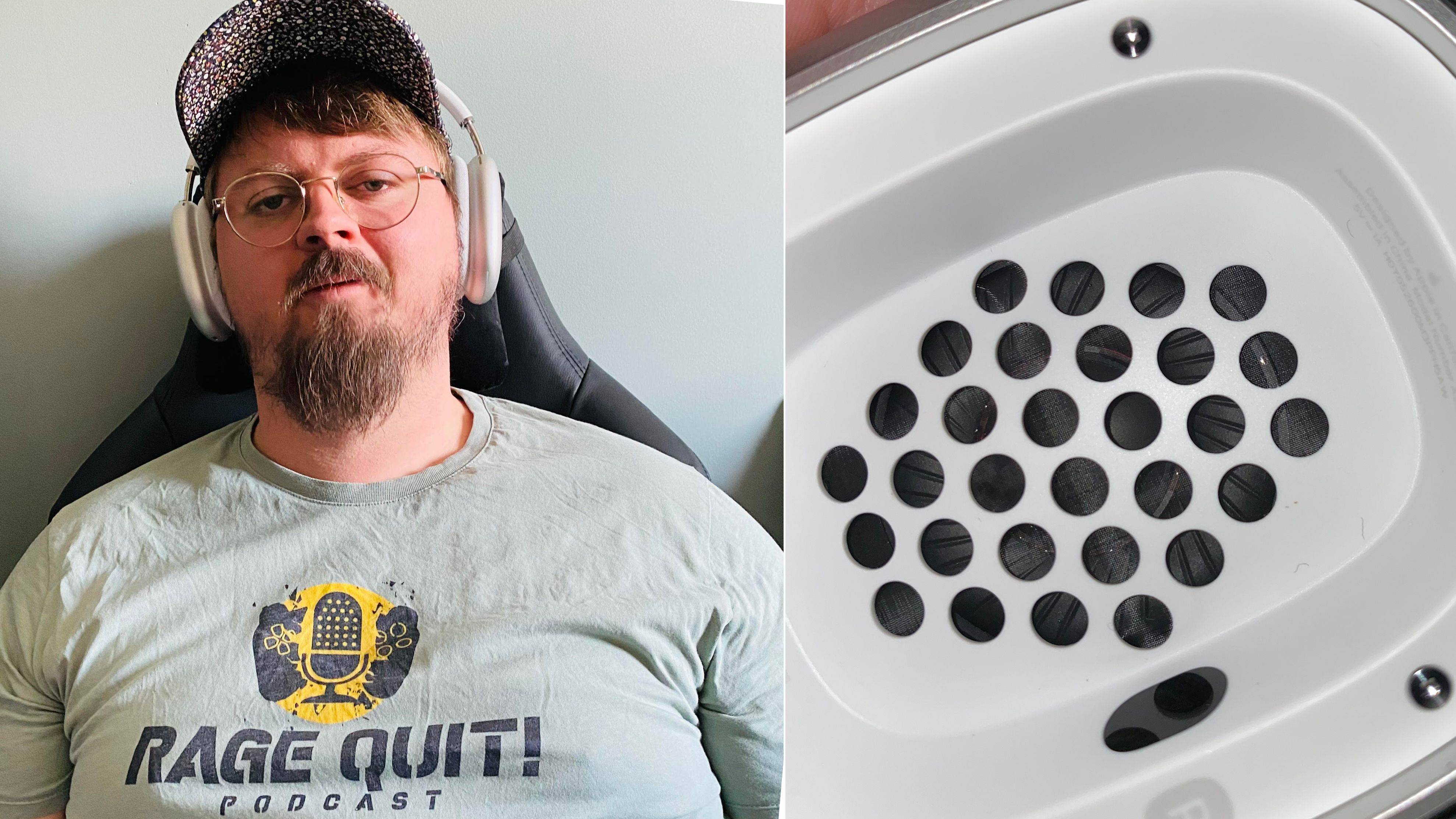 Ståle Baldvinsson med de nye AirPods Max. På høyre bilde sees kondens under hullene ned til gitteret, eller «meshen» som beskytter høyttalerelementene.