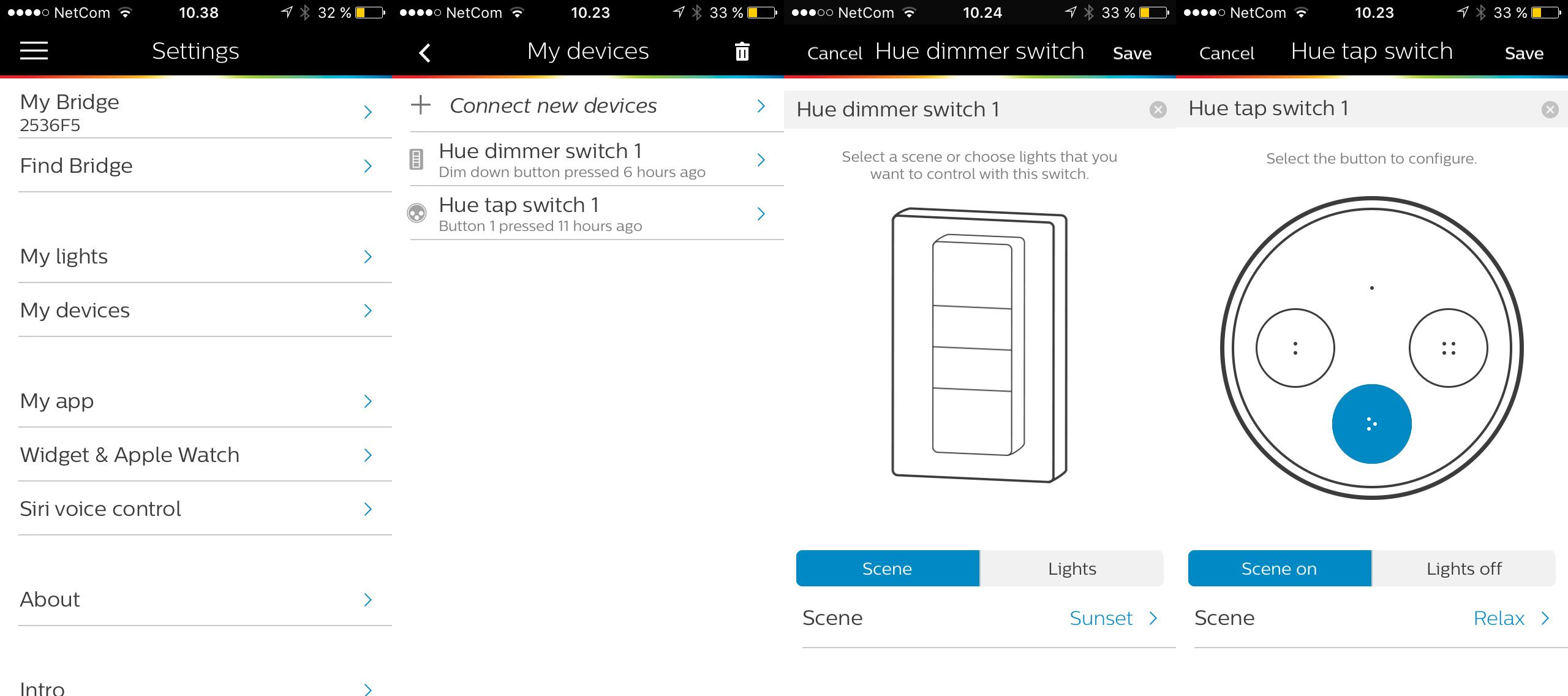 Med «Tap».bryteren kan du legge inn forskjellige oppsett på de forskjellige knappene, slik at du ikke må bruke mobilen til å styre lyset.
