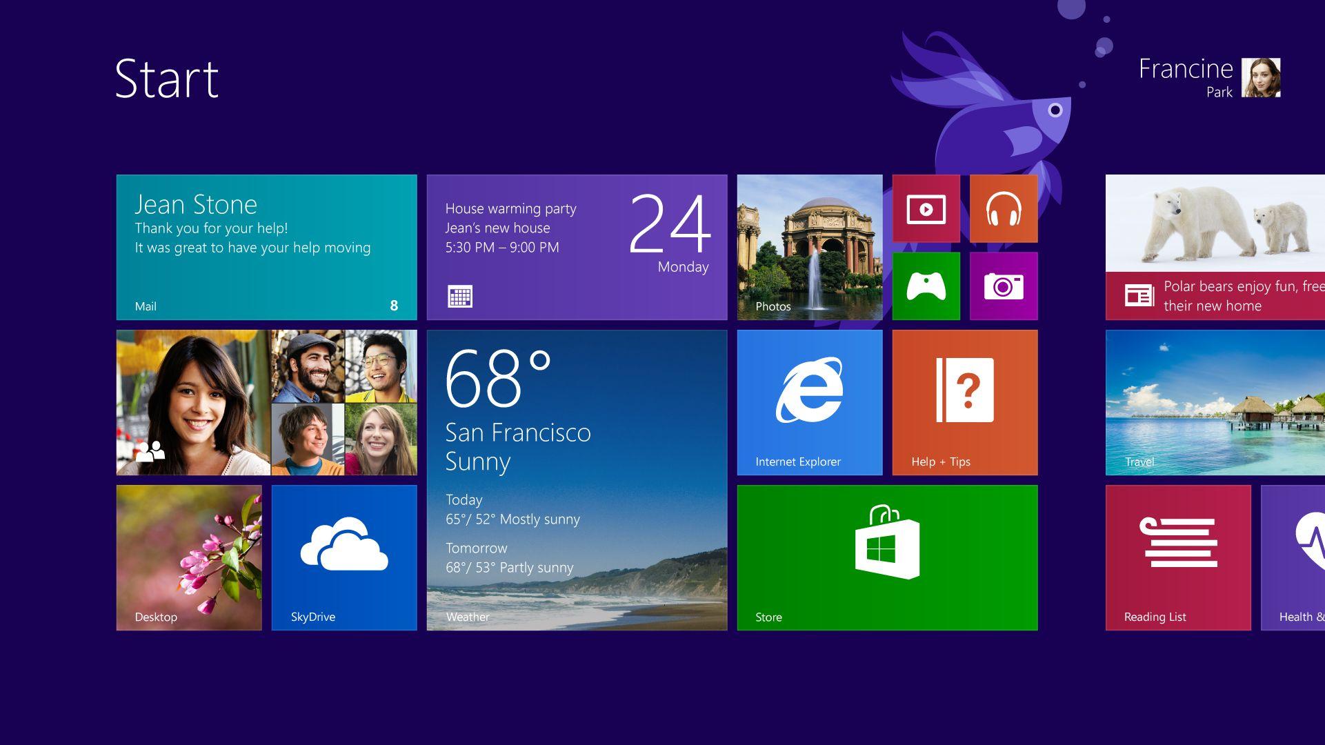 Startskjermen forsvinner ikke helt.Foto: Microsoft