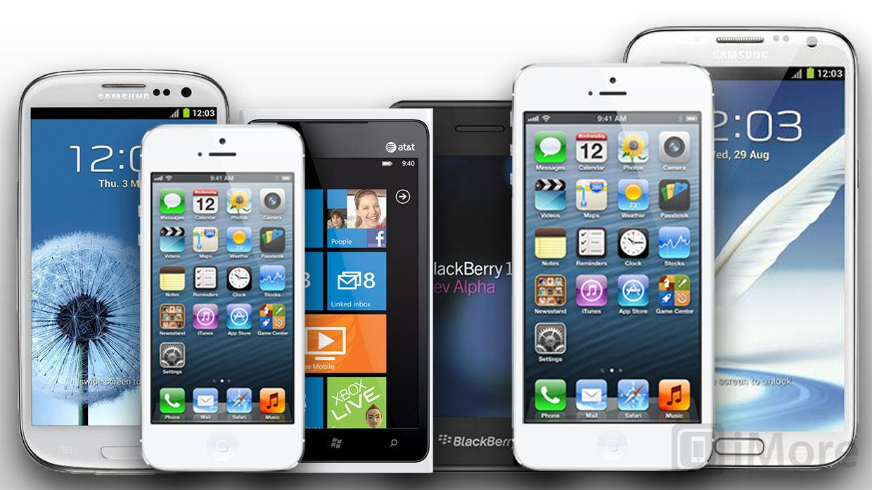 Apple har en større versjon av iPhone på gang, skal vi tro iMore. Her en konseptskisse, med stor iPhone som nummer to fra høyre.Foto: iMore