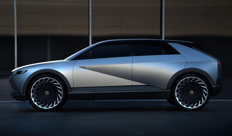 Hyundais kommende Ioniq 5 er basert på 45-konseptet (avbildet). Det ble først vist frem på bilmessen i Frankfurt i 2019.