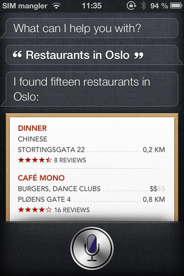 Siri kan finne restauranter i Norge.