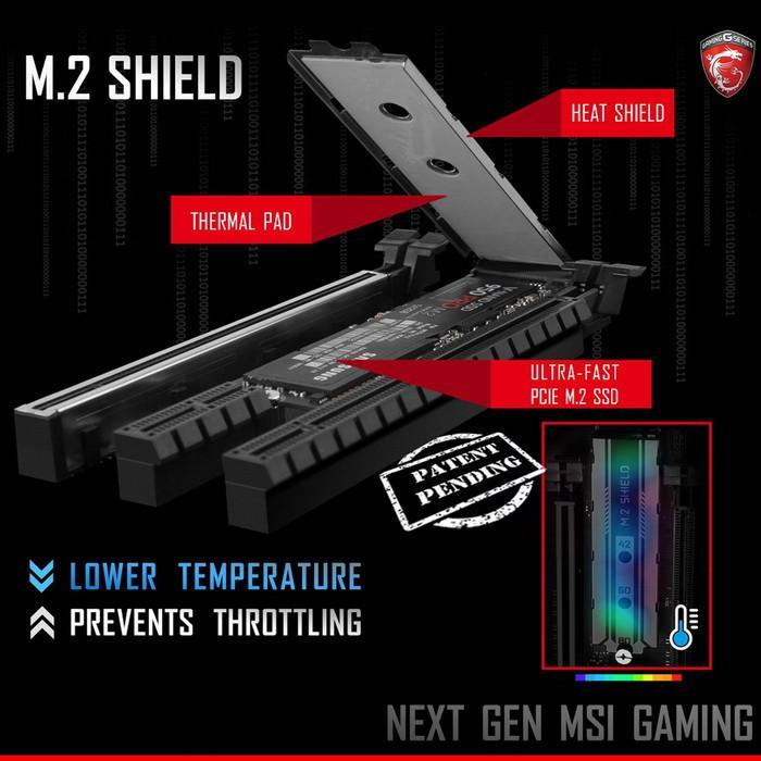 M.2 Shield skal hindre at M.2-SSD-er må senke ytelsen på grunn av overoppheting. Den blir tilgjengelig på enkelte nye hovedkort fra MSI.