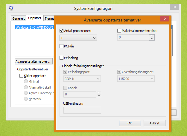Du kan også låse prosessoren til å bruke kun én kjerne rett fra Windows, men dette går utover ytelsen til hele systemet.