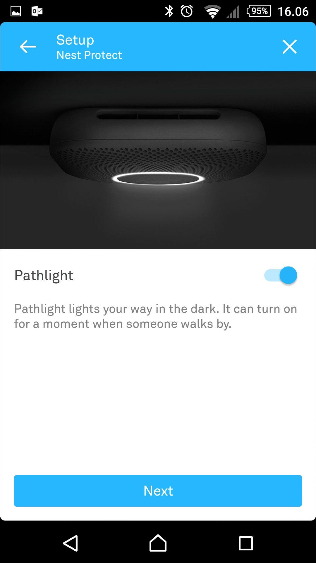 Alt styres gjennom Nests hendige app.